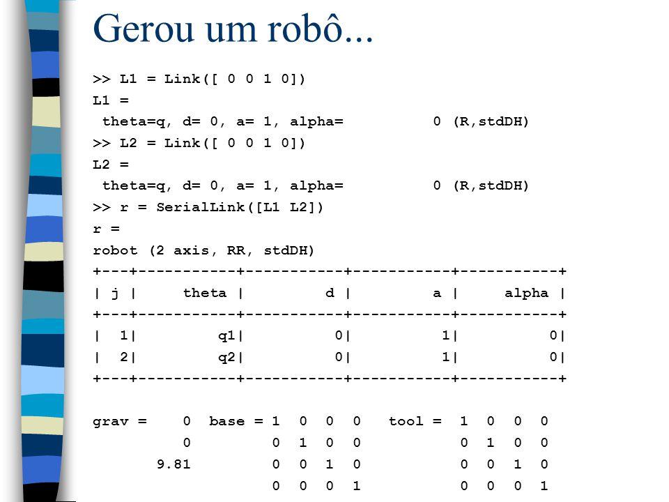 Gerou um robô... >> L1 = Link([ 0 0 1 0]) L1 =